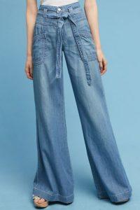 ultra high rise tie-waist wide leg jeans