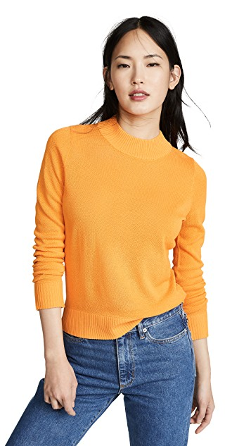 Casual jeans outfit idea. Simon Miller Ampa Sweater, Golden Orange