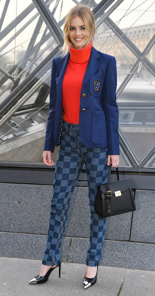 Samara Weaving, Louis Vuitton Show at Paris Fashion Week. Checkerboard, checkered jeans. Damier print jeans.