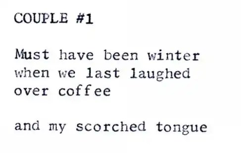 """Couple #1"" by Billimarie Lubiano Robinson - Typewriter Poetry (2012)"