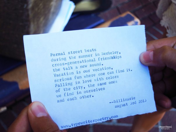 Typewriter Poetry poem by billimarie for Family Vacation Berkeley Team Olsen Photography