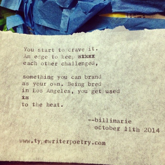 Typewriter Poetry Artisanal LA Billimarie Heidi's Salsa