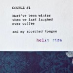 """Etsy Typewriter Poetry Poem """"Couple #1."""" Close up against midnight blue and white baroque card stock."""