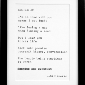 """Couple #2"" by billimarie - Typewriter Poetry for sale - Black Frame - Online shop"