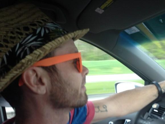 road trip, little tikes car, toddler boy smiling