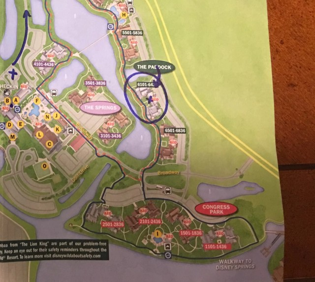 A map with building 61 at Saratoga Springs Resorts in the Paddock section circled.