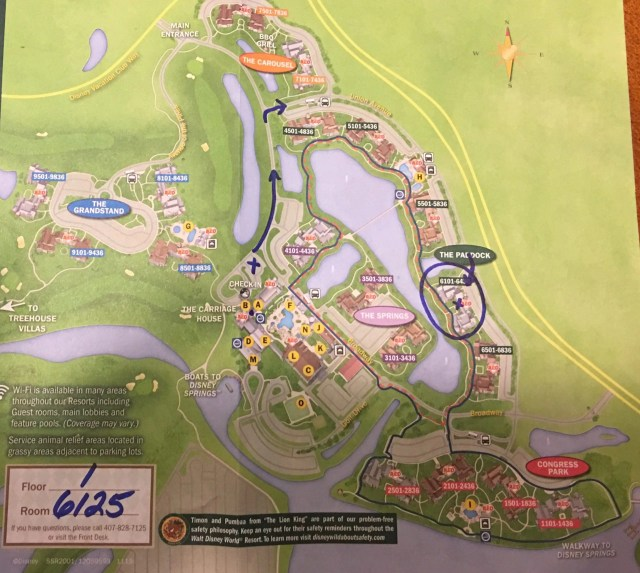 A Saratoga Springs Disney map with directions to the Paddock and room 6125 on floor 1