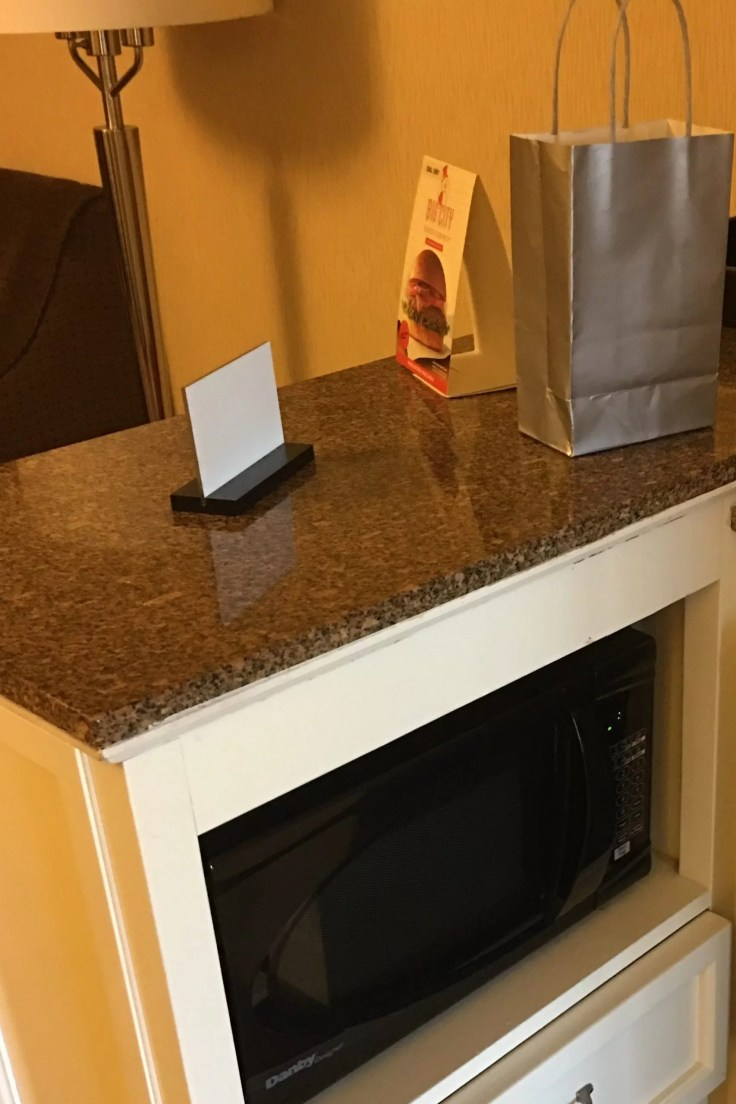 Embassy Suites Beachwood Ohio microwave, bottled water