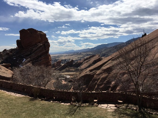 View from the Trading Post porch at Red Rocks amphitheater.