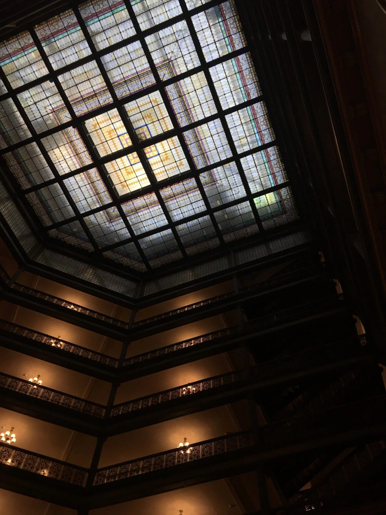 Glass ceiling of the Brown Palace atrium
