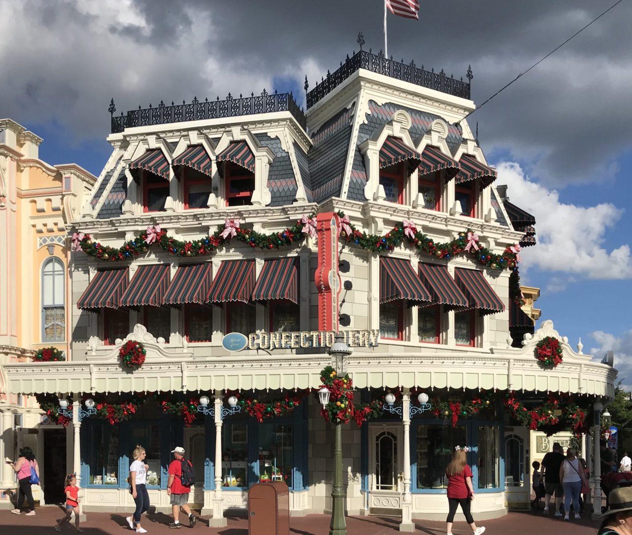 Main Street during Christmas in Walt Disney World