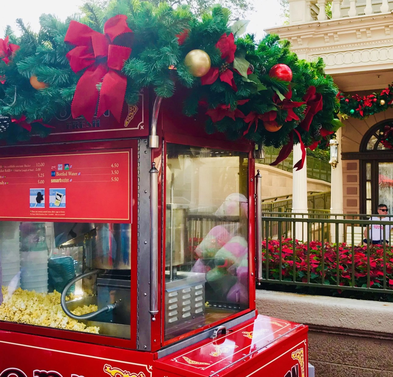Popcorn stands for Christmas in Walt Disney World