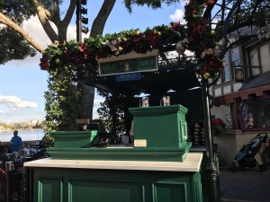 United Kingdom beer cart decorated with holiday garlands