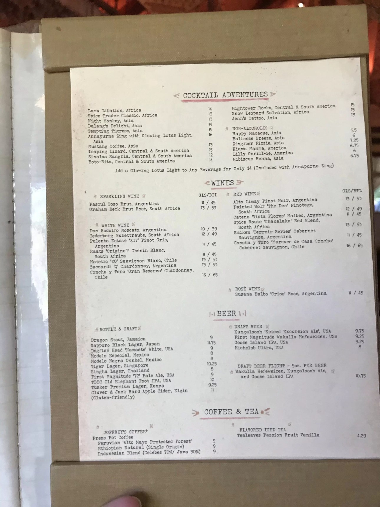Cocktail Menu at Nomad's Lounge in Disney's Animal Kingdom 12/2019