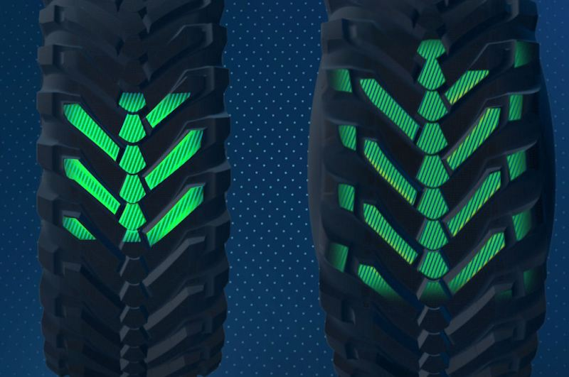 When travelling on the road (l), the EvoBib runs on its centre tread. The shoulder elements are deployed when in the field (r), increasing the contact path by more than 20%