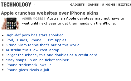 The Age website snapshot