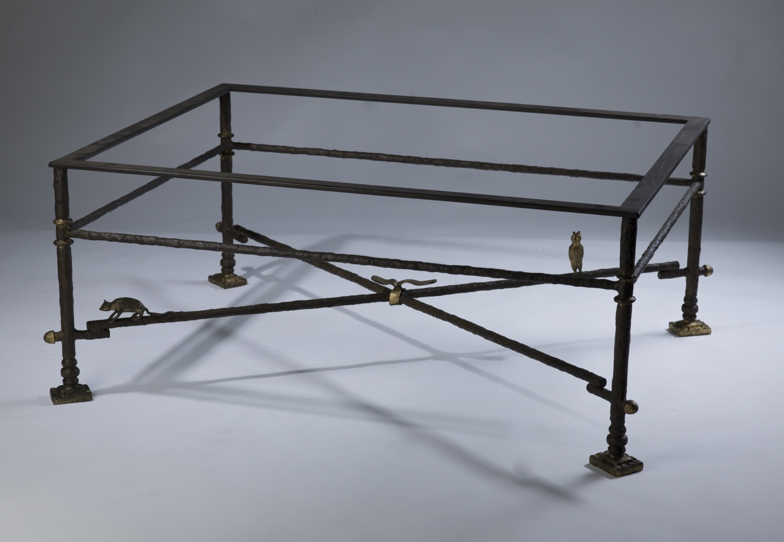 wrought iron coffee table in brown