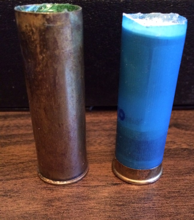 Left: Remake of a Brass Cartridge. Right: Modern Cartridge Cut Down and Refilled.