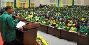 President Kikwete addessing the CCM congress in Dodoma