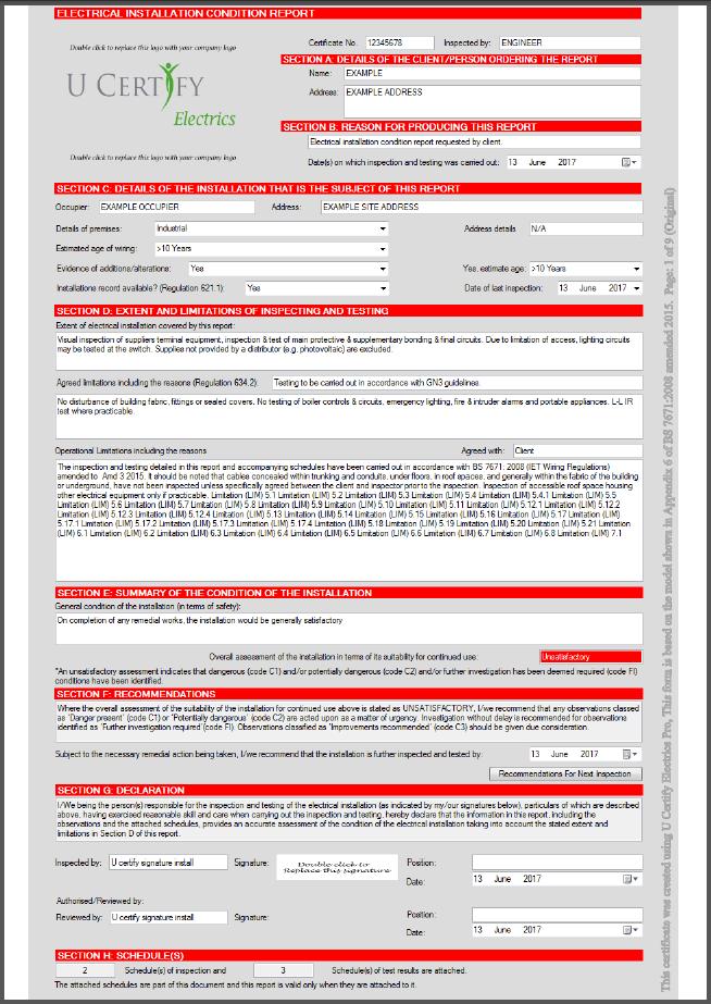U Certify Electrics Pro electrical certification software