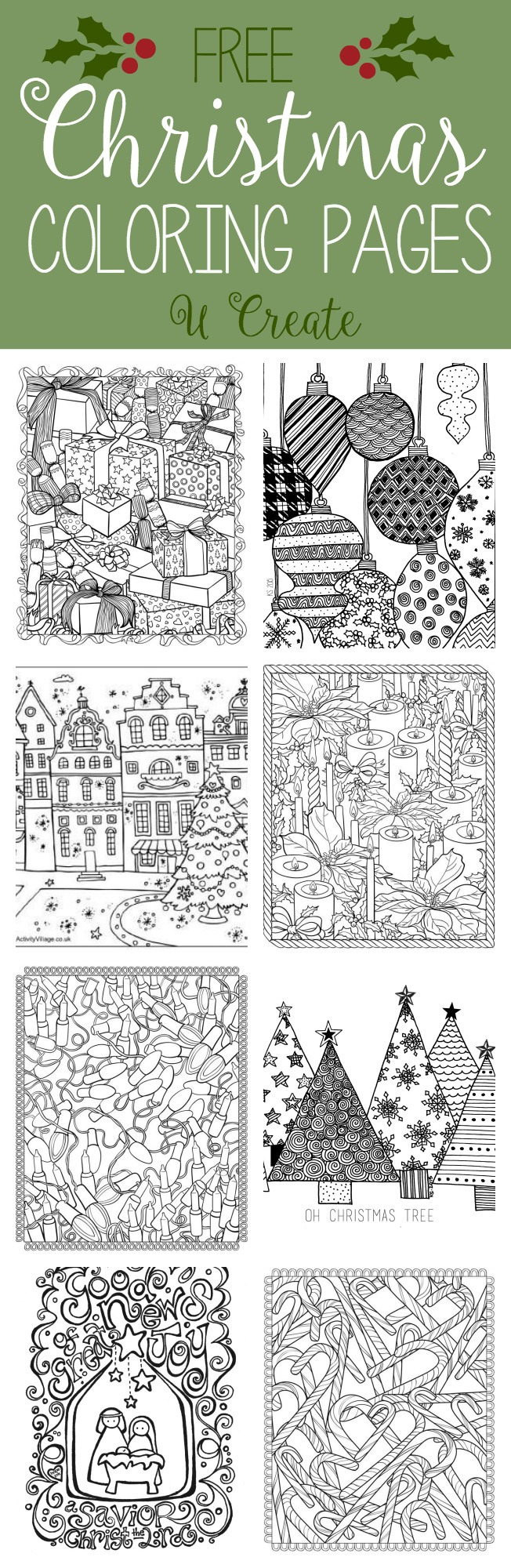 free christmas adult coloring pages - u create