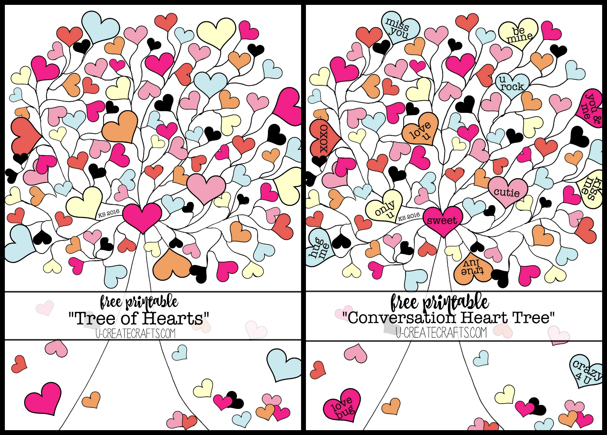 Valentine Conversation Heart Tree Coloring Pages