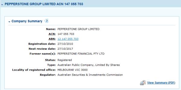 ترخيص شركة بيبرستون الاسترالي ASIC