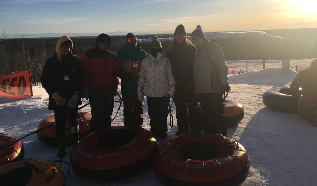 UCM students at a tubing event.