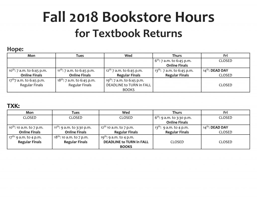 Fall 2018 Returns Bookstore Hours