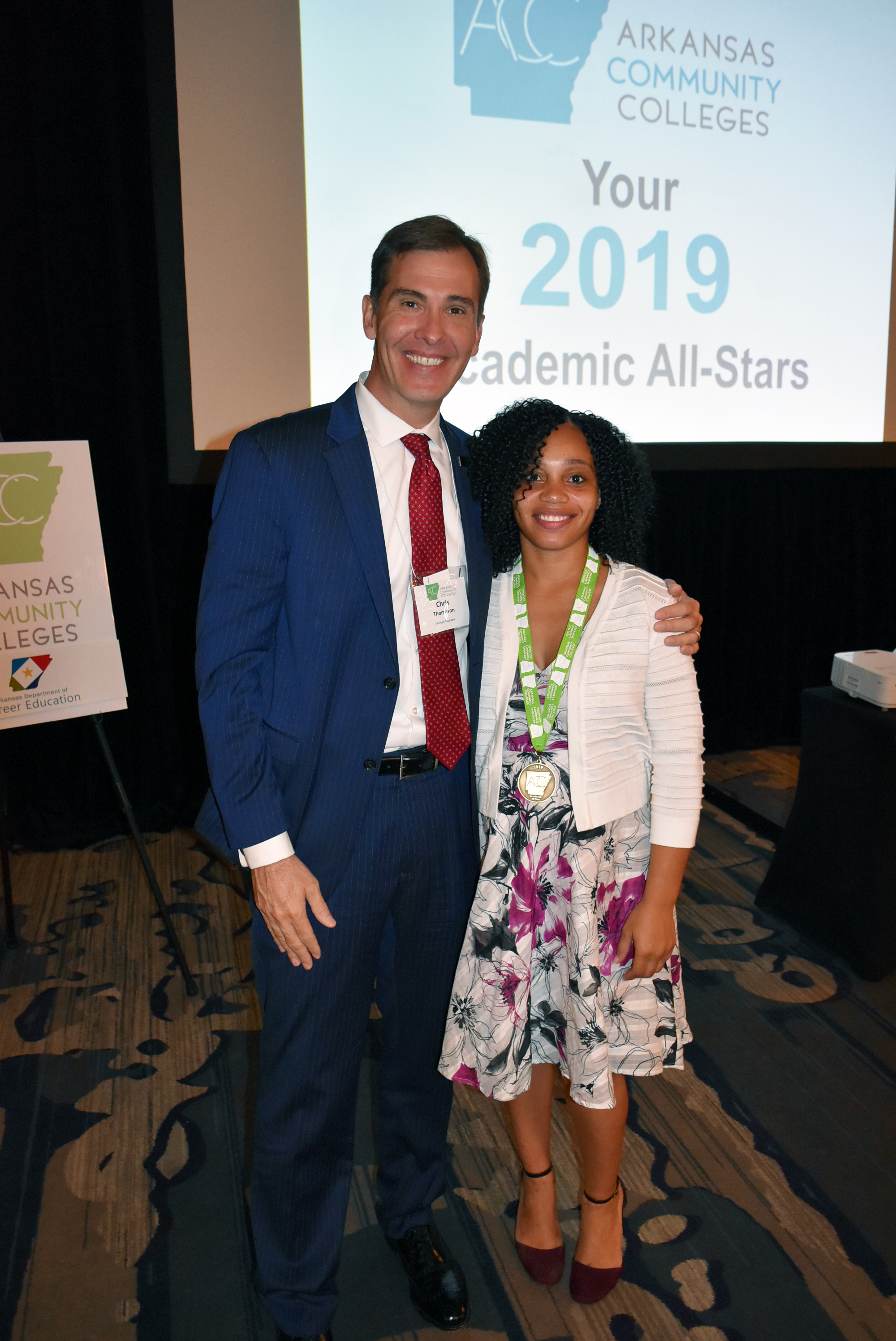 Pictured left to right:  Chris Thomason, UAHT Chancellor and Kalesha Parrish, UAHT Academic All-Star
