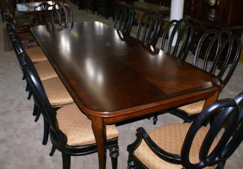 Modern Bassett Cherry Dining Room Table And Set Of 12