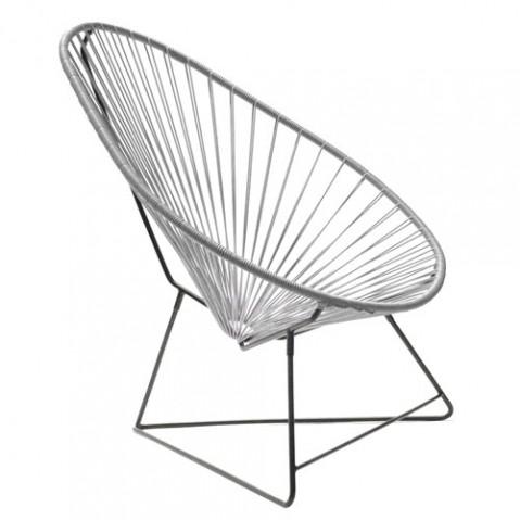fauteuil acapulco avec structure noire gris de boqa
