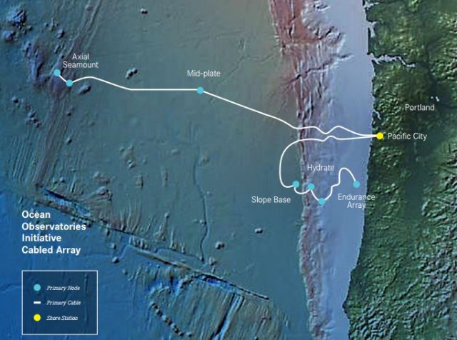 The Ocean Observatories Initiative's cabled array, funded by the National Science Foundation, streams data from sensors along the seafloor as far out as Axial Seamount, 300 miles off the Oregon coast. The seafloor image here is derived from the Global Multi-Resolution Topography Synthesis and shows the Juan de Fuca plate. Seafloor image: GeoMapApp