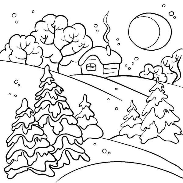 40 картинок-раскрасок на тему «Зима» и «Новый год» для ...