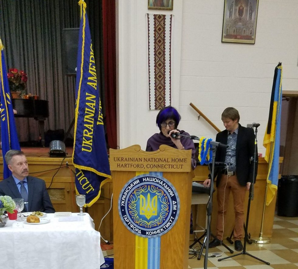 Congresswoman Rosa DeLauro, US Representative for Connecticut's 3rd congressional district, addresses the Ukrainian American Veterans annual convention