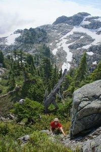 Steep terrain near the top of Ben Lui, Ben More in background