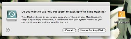 Time Machine en el Western Digital Passport