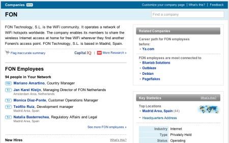Perfil de empresas en Linkedin: FON