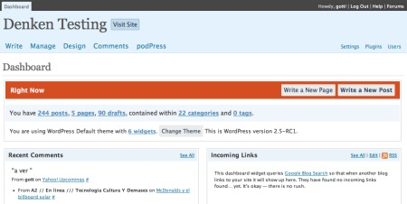 Prueba de WordPress 2.5