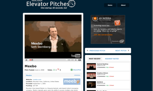 elevator pitch meebo
