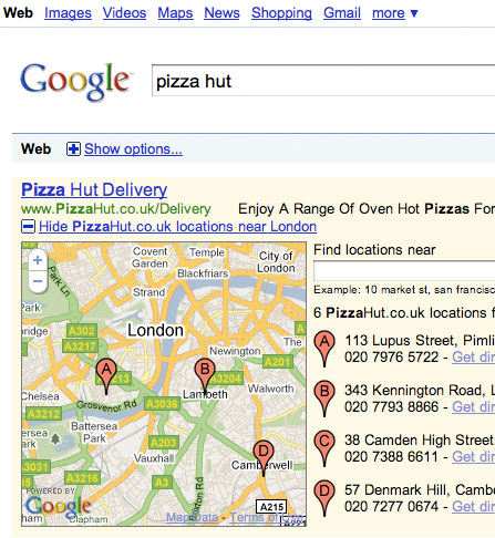 anuncio pizzahut con google maps