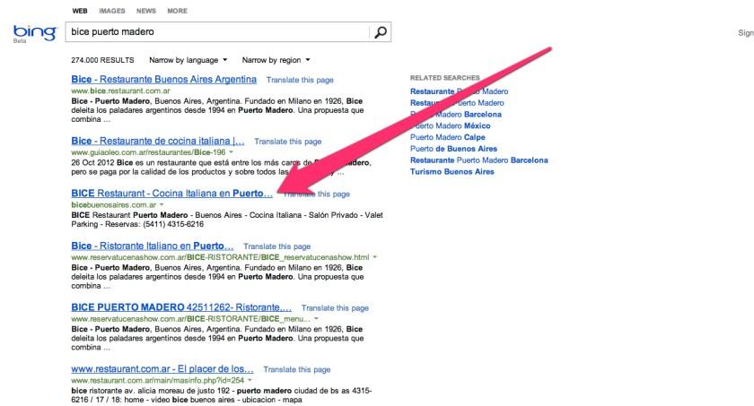 De los buscadores Bice en Bing es el mas cercano