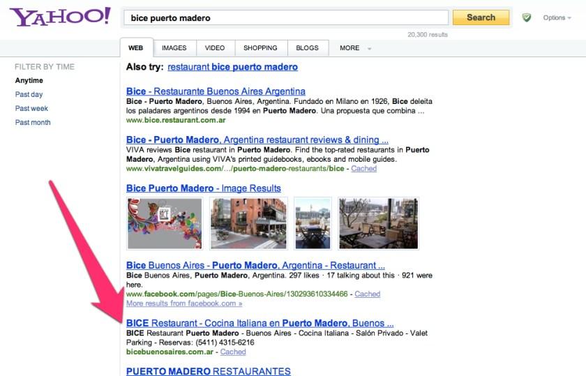 Buscadores Bice en Yahoo