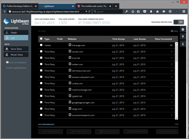 privacidad lightbeam listview