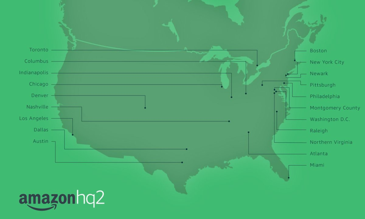 Amazon ciudades candidatas segunda central de Amazon