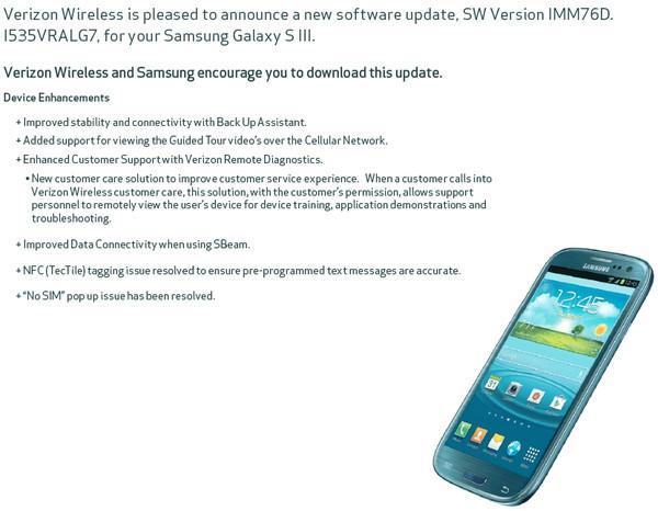 Verizon Samsung Galaxy S3 software update coming, fixes No