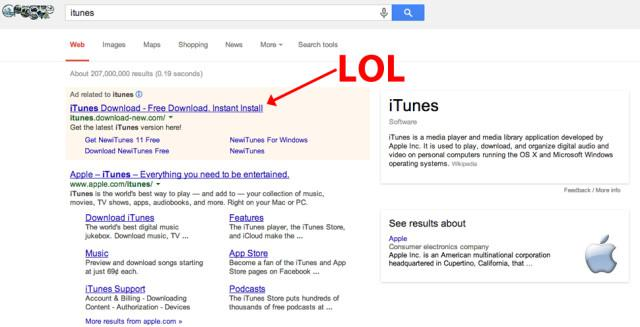 """Google Search For """"iTunes"""" Lists Malware Website For First Result"""
