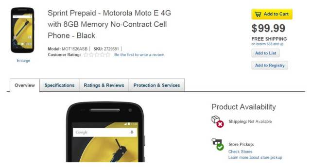 Second-Gen Moto E With 4G LTE Spotted On Best Buy's Website