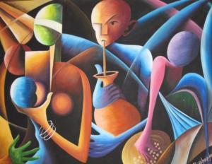 Painting by contemporary Rwandan artist Bushayija