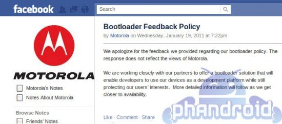 Motorola's Facebook apology